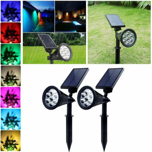 Outdoor Solar Spot Lights 7 Color Changing LED Garden Landsc