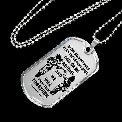 To My Brother Dog Tag Necklace -  Songoku & Vegeta - Best Gift for your