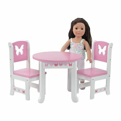 New Pink and White Table and Chairs Set Fits 18