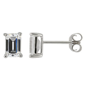 Sterling Silver Cz Emerald Cut Solitaire Stud Earrings
