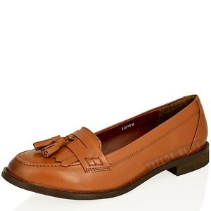 WOMENS LADIES SMART  FLAT TASSEL LEATHER LOAFER OFFICE WORK SCHOOL SHOE SIZE 3-8
