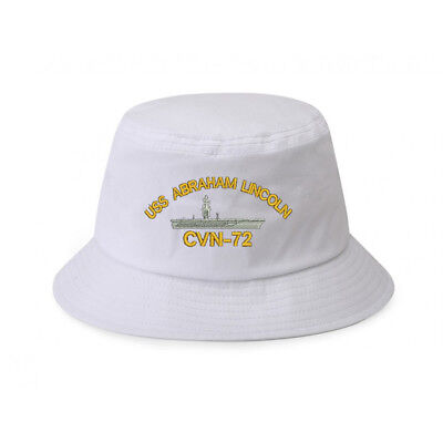 100% Cotton Military White Bucket Cap Hat USS ABRAHAM LINCOLN CVN-72 BATTLESHIP for sale  Shipping to Canada