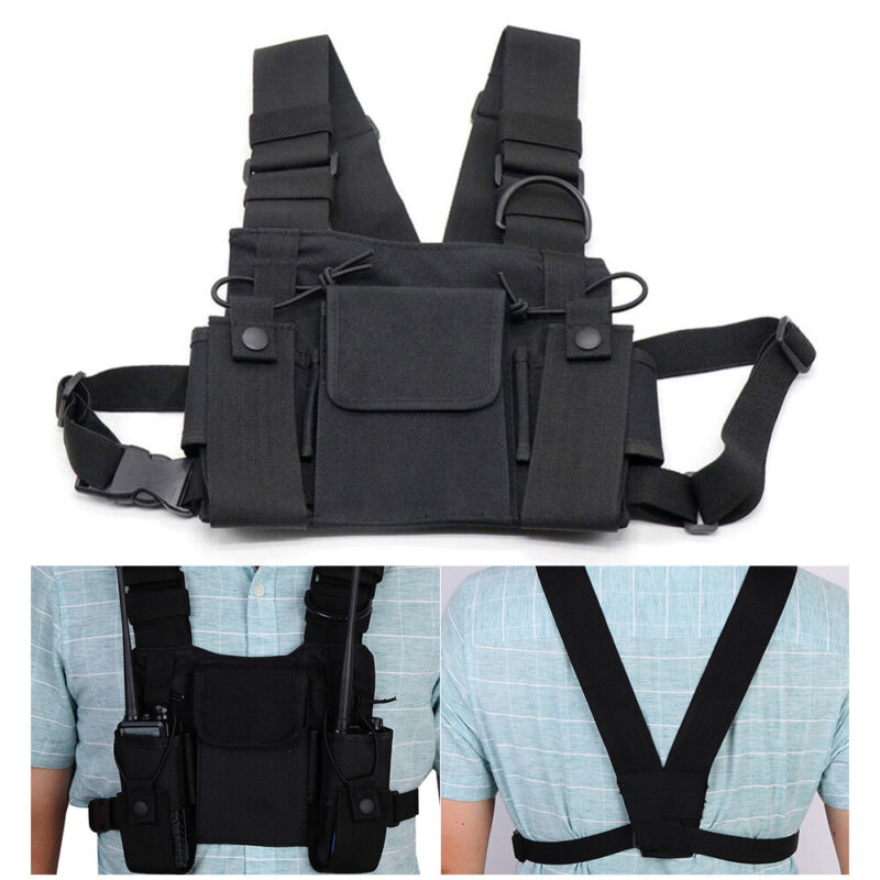Universal Radio Chest Harness Bag Pocket Holster Vest Rig For Two-Way Radio US