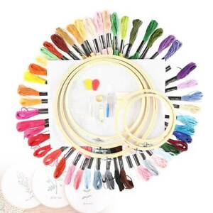 Cross Stitch Embroidery Starter Kit Craft DIY Tools Colorful Fabric-Set