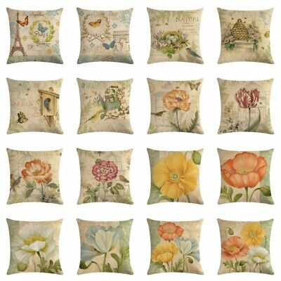 Vintage Flower Butterfly Cotton Linen Sofa Pillow Case Cushion Cover Home Decor ()