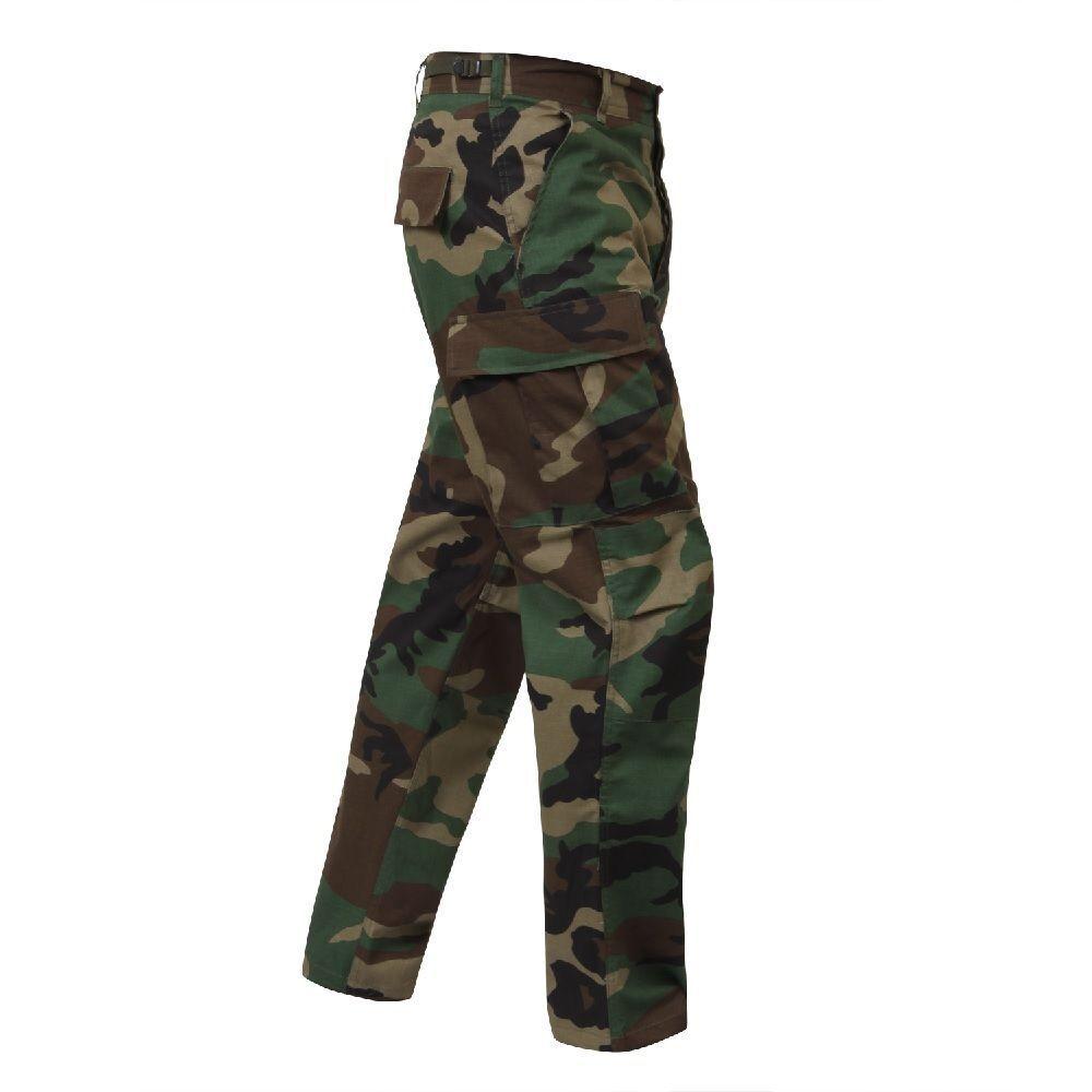 BDU Cargo Pants Woodland Camo Military Fatigue Rip-Stop Pant