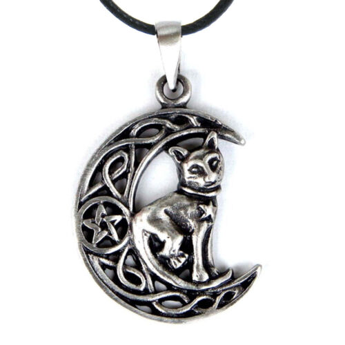 """Pentagram of the Cat Pendant 1.25"""" NEW Pewter Amulet Wicca Witch - US Made!"""
