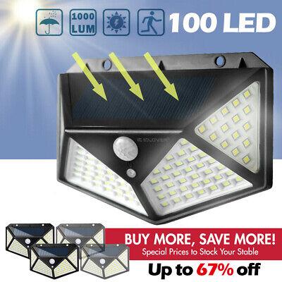 100 LED Solar Powered Light Outdoor Wireless Motion Sensor Wall Yard Garden -