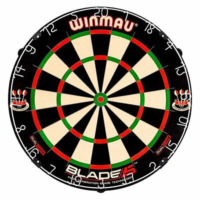 Winmau Blade 5 Dual Core Bristle Dartboard, BLACK WHITE RED