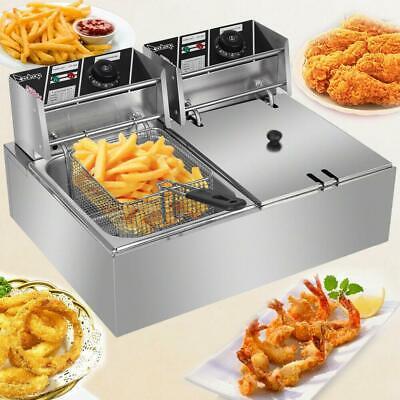 12l Electric Deep Fryer Dual Tank Fry Basket Commercial 5000w 12l
