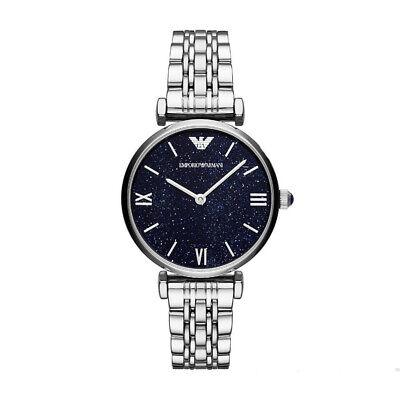 100% New Emporio Armani AR11091 Analogue Quartz Blue Dial Bracelet Women's - Blue Bracelet Watch