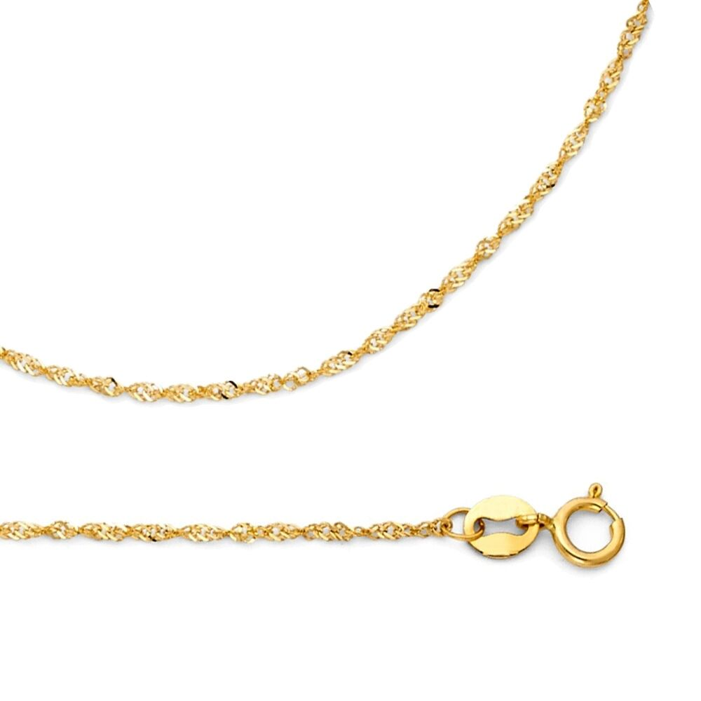 dd649567997cf Details about Solid 14k Yellow Gold Necklace Singapore Chain Twisted Link  Thin , 0.9 mm
