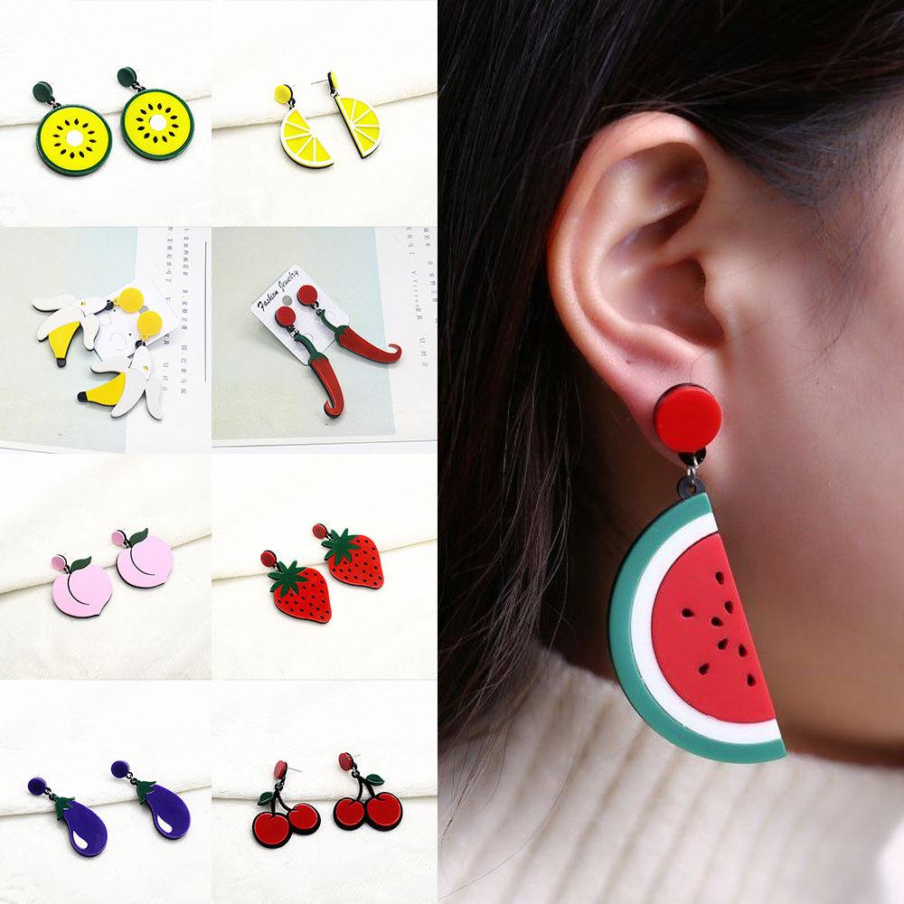 Strawberry Banana Lemons Fruit Drop Necklace Rockabilly Boho Vintage Style