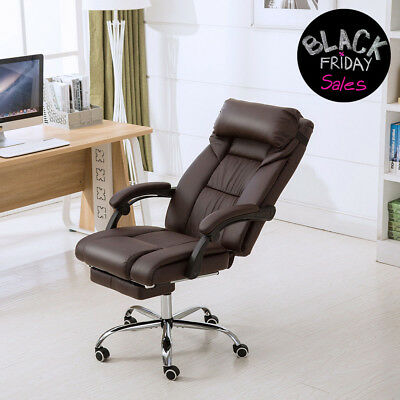 Executive Chair Pu Leather Luxury Reclining High Back Office Chair Wfootrest