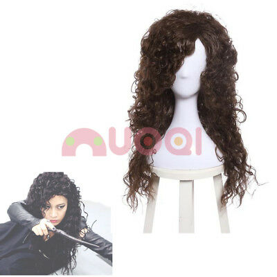 Long Brown Curly Wig Halloween (Dark Brown Wig Long Curly Wavy Cosplay Full Wig Halloween Costume)