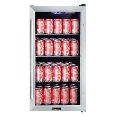 Magic Chef 3.1 Cu. Ft. 87 12 Oz. Can Beverage Cooler In Stainless Steel