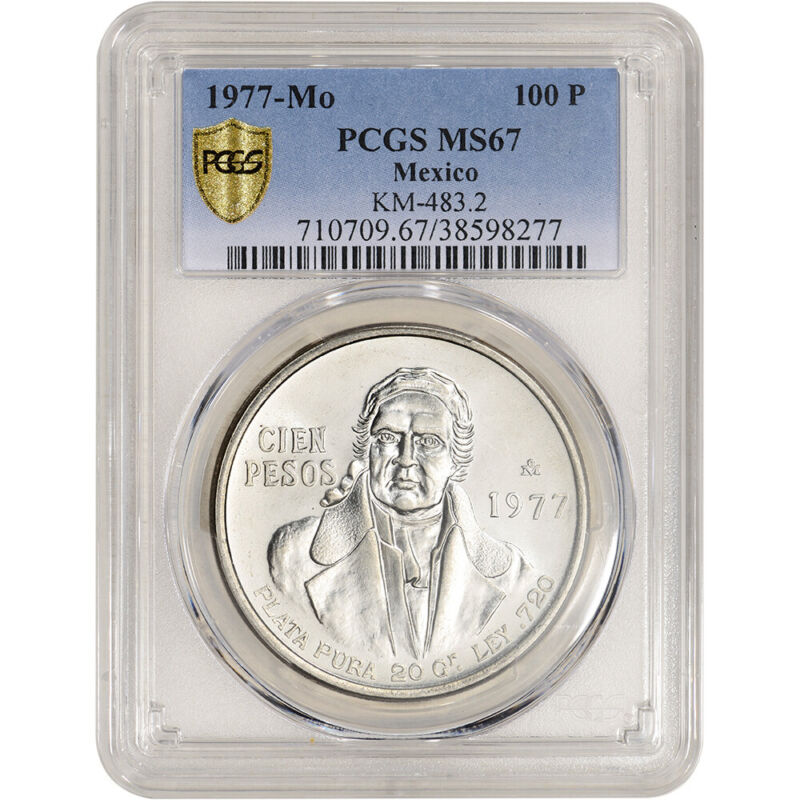 1977 Mo Mexico Silver 100 Pesos - KM# 483.2 - PCGS MS67
