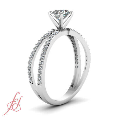 1.55 Ct Round Cut Diamond Split Band Pave Set Engagement Ring Solid 14K Gold GIA 2