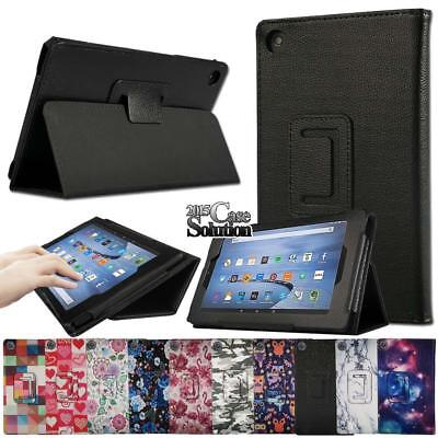Leather Stand - Folio Leather Stand Cover Case For Amazon Fire HD 8 with Alexa 2016/ 2017/2018