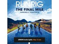 RUNRIG SEATED STALL TICKETS LONDON X 2 BELOW FACE VALUE