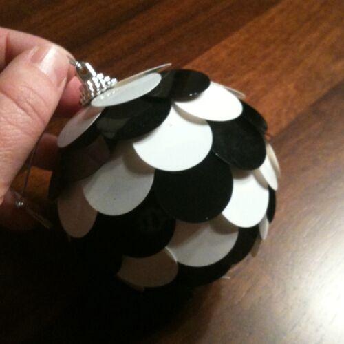 "Black & White Large Sequin Ball Ornament 3"""