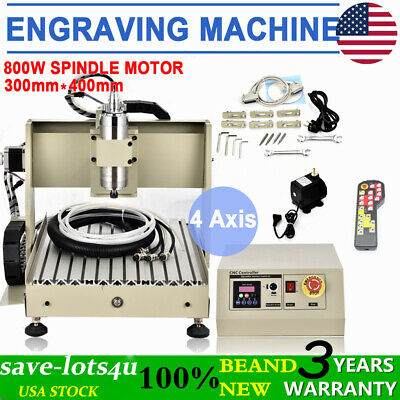3040 4 Axis Cnc Router Engraver 0.8kw 3d Vfd Metal Milling Drilling Machine Rc
