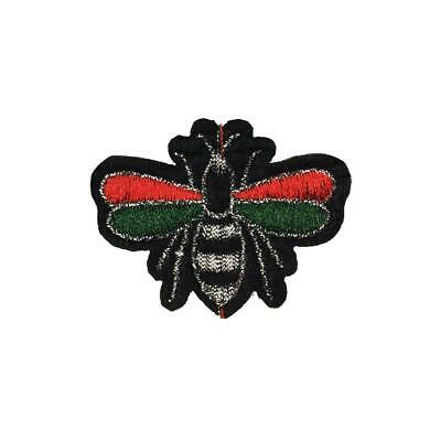 Red Green Glitter Line Bee/Fly Bug (Iron On) Embroidery Applique Patch Sew Badge Glitter Line