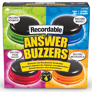4 x Recordable Answer Buzzers Quiz Buzzers Record your own sound game show