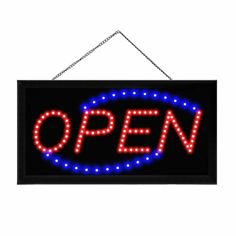 Animated Motion Running LED Business OPEN SIGN Bright Light Neon +On/Off Switch