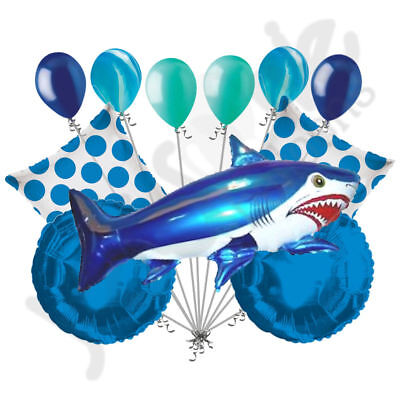 Fish Balloon (11 pc Blue Wild Tiger Shark Balloon Bouquet Party Decoration Fish Ocean)