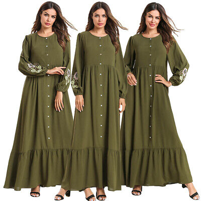 Abaya Robe Women Maxi Embroidery Dress Muslim Kaftan Jilbab Islamic Button Dress