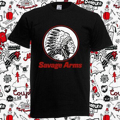 New Savage Arms Firearms Gun Logo Men's Black T-Shirt Size S to 3XL