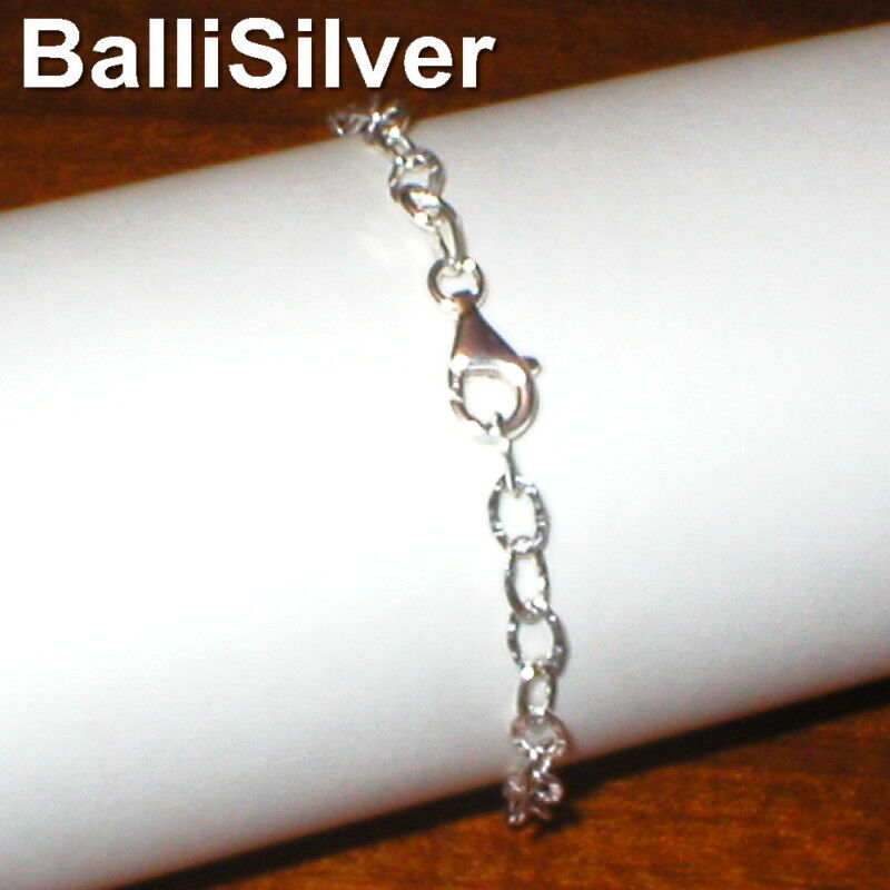 3 pieces 925 Sterling Silver 4x6mm HAMMERED Oval Cable Chain BRACELETS Lot