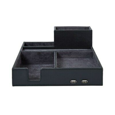 Staples Faux Leather Desk Organizer With Charging Hub 2215560