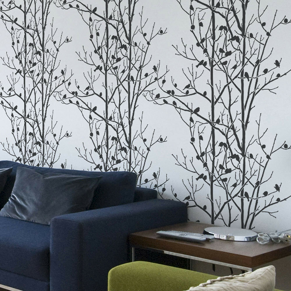 Birds In Trees Allover Stencil Reusable Wall Stencils