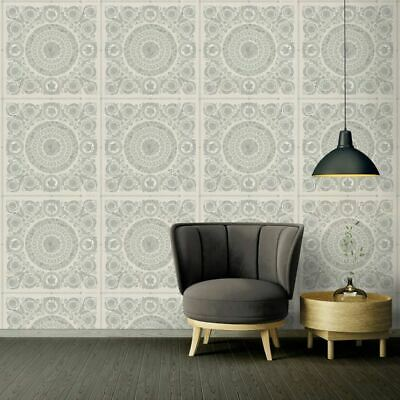 Versace IV Heritage Panel Metallic Wallpaper Silver 37055-5 Panelled Luxury