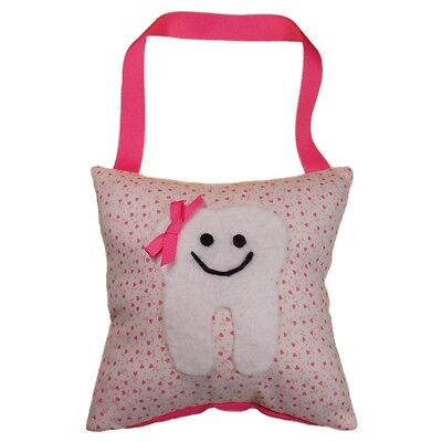Tooth Fairy Pillow Girl's Tiny Pink Hearts Hand Crafted Made in the USA **NEW**