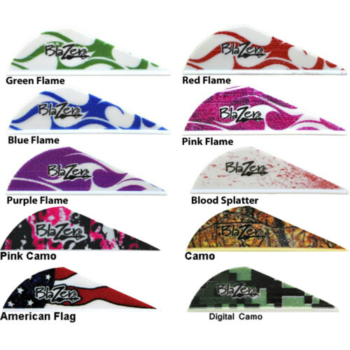 "Flame 50 pk Bohning Blazer Vane 2"" Camo Arrow Fletching Mix & Match 10 Colors"