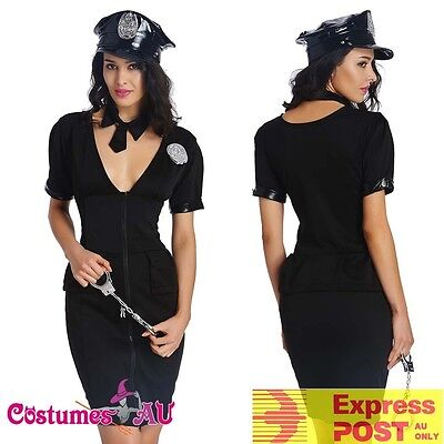 Womens Ladies Police Woman Black Cop Uniform Party Fancy Dress Costume Outfit - Cop Outfits For Women