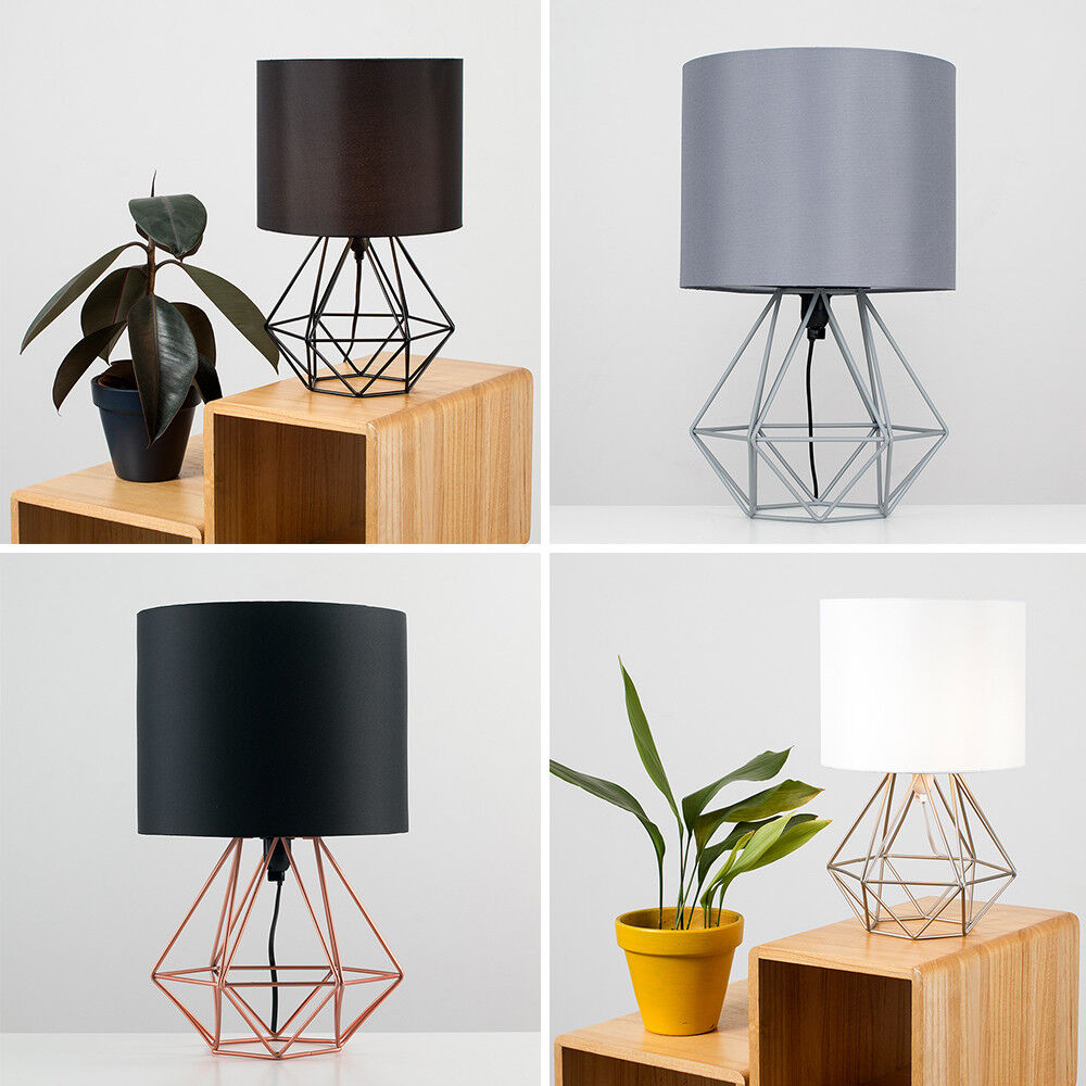 check out d8459 3d103 Details about Industrial 40cm Geometric Bedside Lounge Table Lamp Drum  Shade Bedside Light