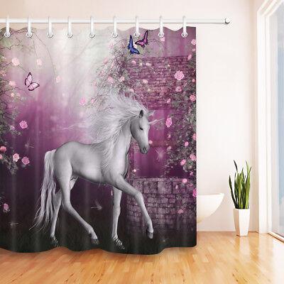 Fairy Tale Flowers Butterfly Unicorn Bathroom Shower Curtain Liner Waterproof