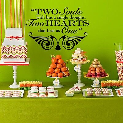 Two Hearts that Beat as One Wedding Wall Decor Vinyl Sticker Decal 16