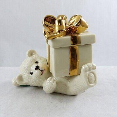 - Mikasa Porcelain Bear Holding Lidded Gift Box Holiday Elegance