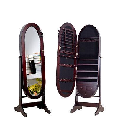 Floor Mirror Cabinet - Brown Oval Floor Stand Mirror Jewelry Cabinet Armoire Jewelry Storage Organizer