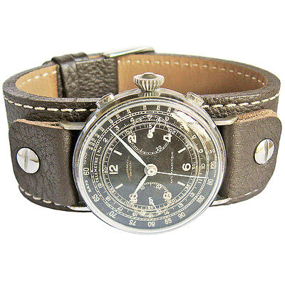 21mm Fluco Vigo German Mens Brown Riveted Cuff Leather Pilot Watch Band - Brown Leather Cuff Strap