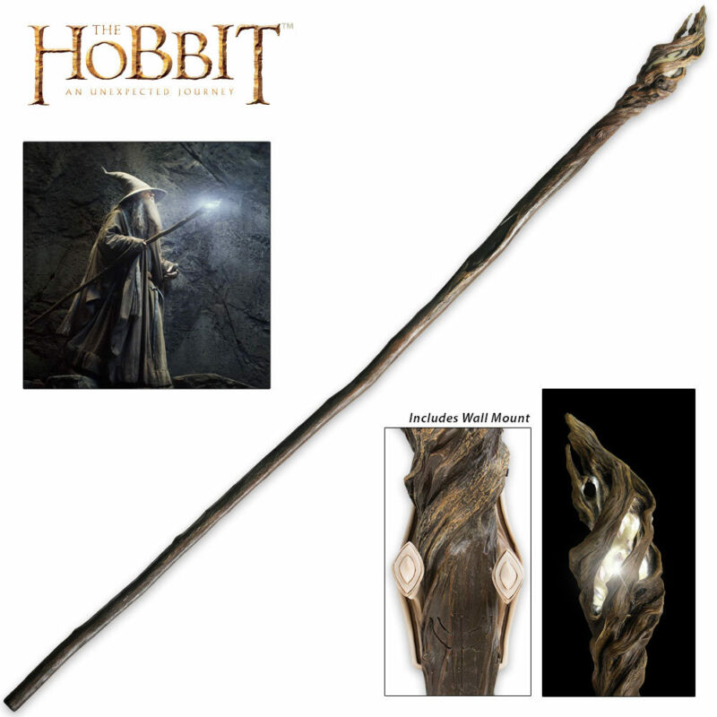 "73"" Officially Licensed Hobbit Lord of the Rings Gandalf Wizard Staff w/ Mount"