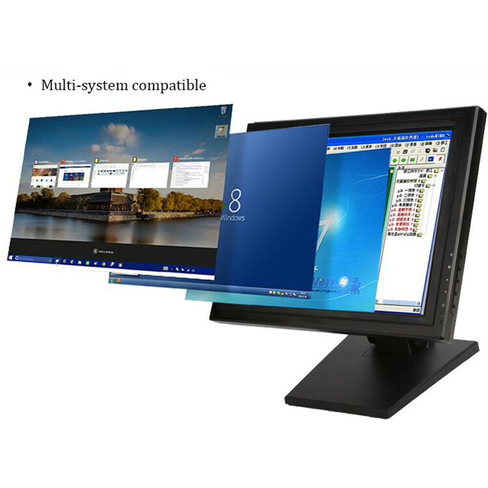 """15/"""" 17/""""  LED Touch Screen VGA Monitor Bar W// POS Stand Restaurant Cafe Retail MX"""