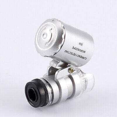 Mini 60x Pocket Microscope Jewelry Coins Stamps Antiques Magnifier Led Light