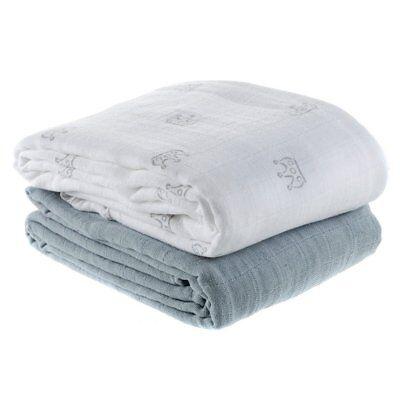 Makian Einschlag- & Mulltuch 2er Pack 120 x 120 cm - Krönchen Weiß Grau