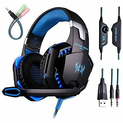 Gaming Headset Mic PC,PS4,Xbox One,Over-ear Headphones Volume Control LED Light
